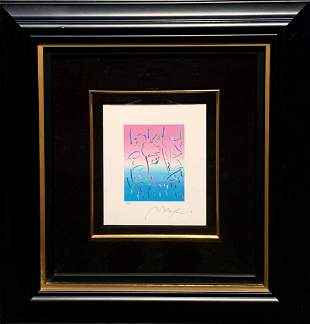 """Peter Max Serigraph on paper """"Midnight profile"""""""