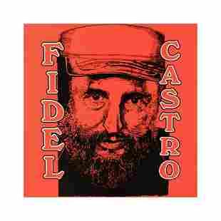 "Steve Kaufman (1960-2010) ""Fidel Castro"" Hand Pulled"