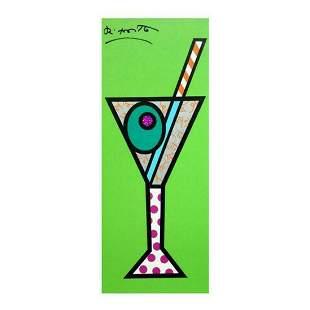 """Romero Britto """"Green Martini"""" Hand Signed Limited"""