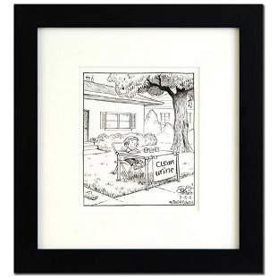 "Bizarro! ""The Stand"" is a Framed Original Pen & Ink"