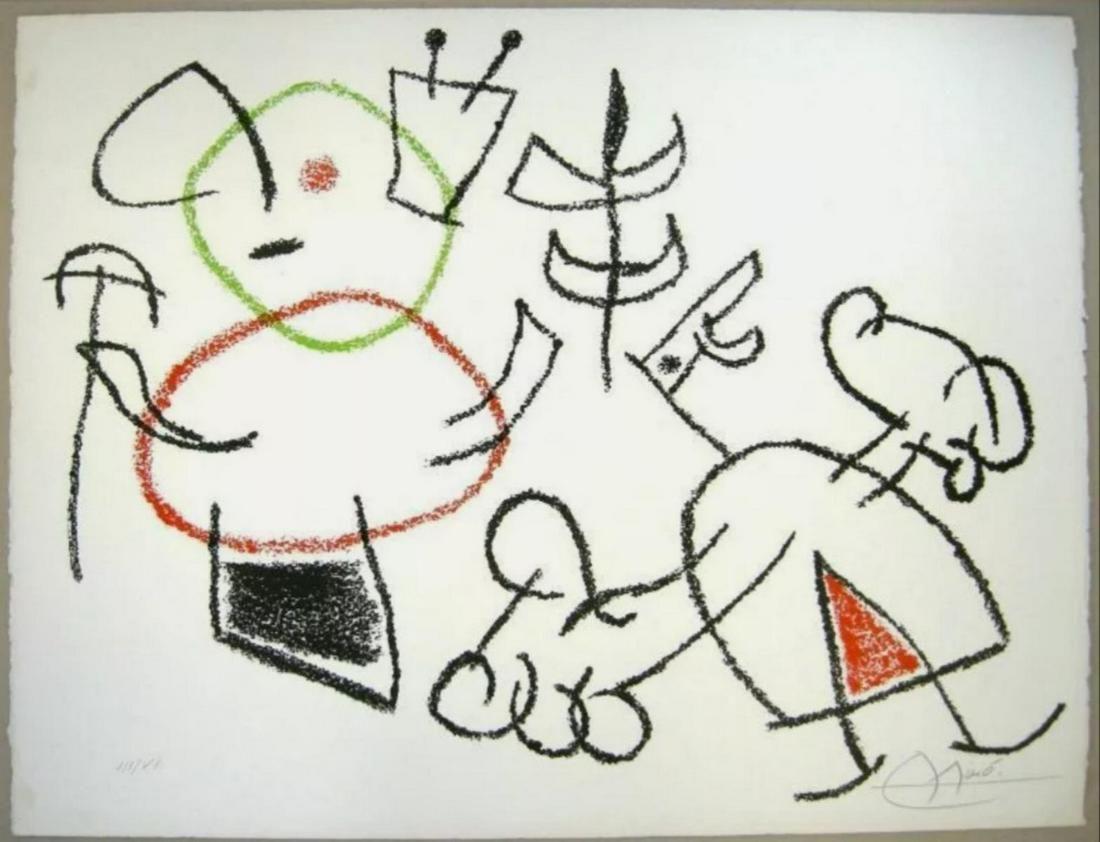 """Joan Miró Color Lithograph """"L'enfance d'Ubu (Childhood"""