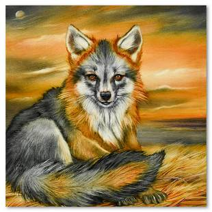 "Martin Katon, ""Grey Fox Puppy"" Original Oil Painting on"