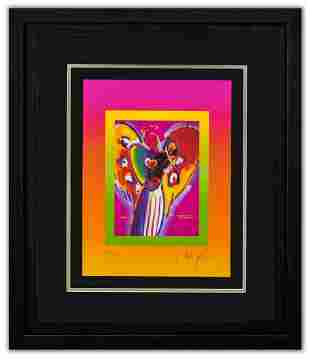 """Peter Max- Original Lithograph """"Angel with on Blends"""""""