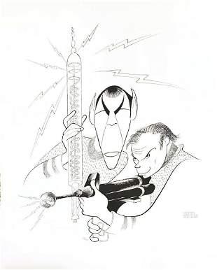"Al Hirschfeld- Original Lithograph on Paper ""Star Trek"