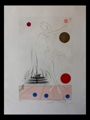 """Salvador Dali- Original Etching with color """"Buckingham"""