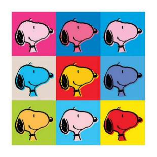"""Peanuts, """"Snoopy Warhol Face"""" Hand Numbered Canvas"""