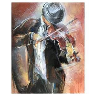 "Lena Sotskova, ""Street Musician"" Hand Signed, Artist"