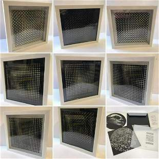 Victor Vasarely- 3D Wall Sculpture/object - Set of 8