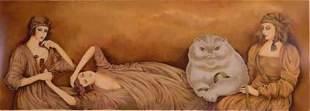 """Haya Ran- Original Serigraph """"The White Cat"""""""