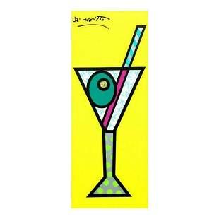 """Romero Britto """"Yellow Martini"""" Hand Signed Limited"""