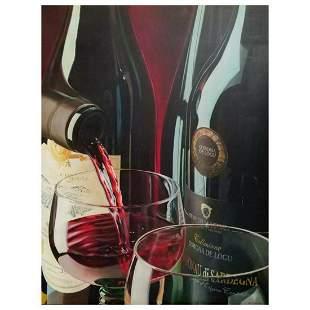 "E. Denis, Original Oil Painting on Canvas (32"" x 42""),"
