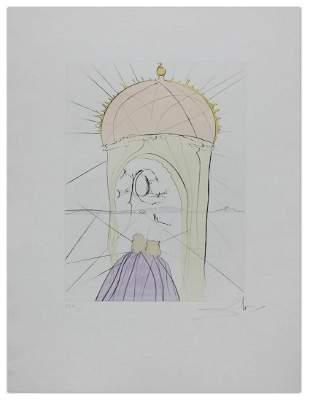"""Salvador Dali- Hand Colored Original Etching """"The"""