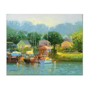 """Ming Feng, """"Garden by the Lake"""" Original Oil Painting"""