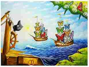 "Eugene Poliarush- Original Oil on Canvas ""Boat Of"