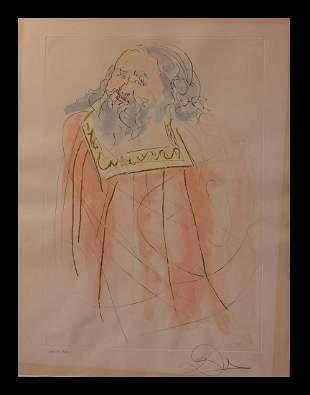 "Salvador Dali- Watercolor on Etching ""King David"""
