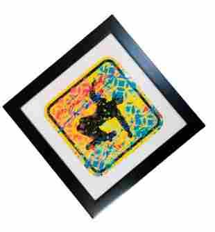 """E.M. Zax- Mixed media acrylic on Street Sign """"NO"""