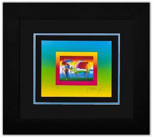 "Peter Max- Original Lithograph ""RAINBOW UNBRELLA MAN ON"