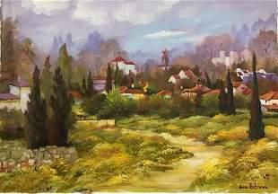 "Zina Roitman- Original Oil on Canvas ""Village in the"