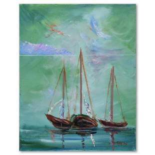 "Elliot Fallas, ""Trio of Boats"" Original Oil Painting on"