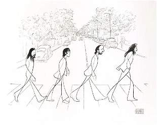 "Al Hirschfeld- Original Lithograph on Paper ""Beatles,"