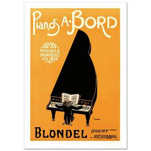 """RE Society, """"Pianos A Bord"""" Hand Pulled Lithograph,"""