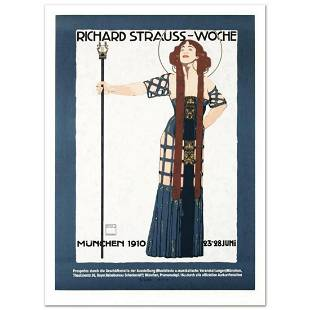 """RE Society, """"Richard Strauss"""" Hand Pulled Lithograph,"""