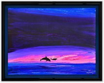 """Wyland- Original Painting on Canvas """"Dolphins"""""""