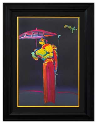 """Peter Max- Original Mixed Media """"Umbrella Man with"""