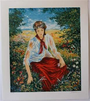 "Igor Semeko- Original Serigraph on Paper ""Peaceful"