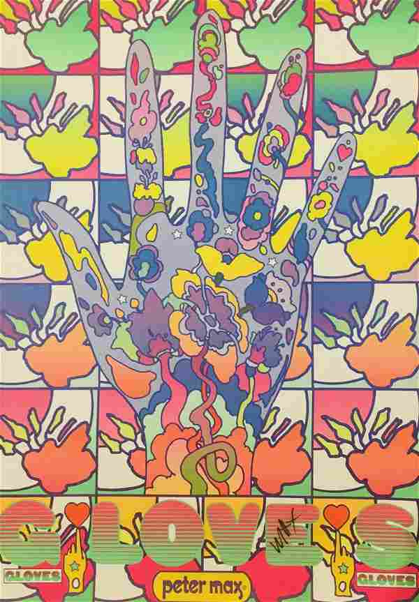 """Peter Max Original Vintage lithograph on paper """"Gloves"""""""