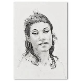 "Charles Lynn Bragg, ""Susanne"" Original Charcoal Drawing"