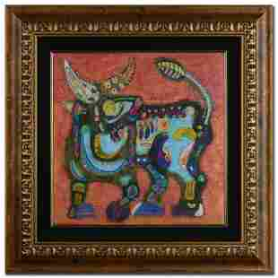 """""""Earth Bull"""" Original Mixed Media Painting by Renowned"""