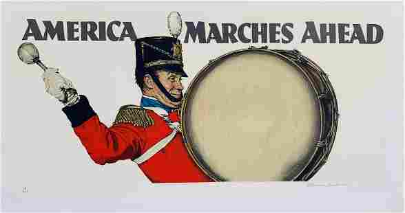 """Norman Rockwell Lithograph """"America Marches Ahead"""""""
