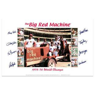 """""""Big Red Machine Tractor"""" Lithograph Signed by the Big"""