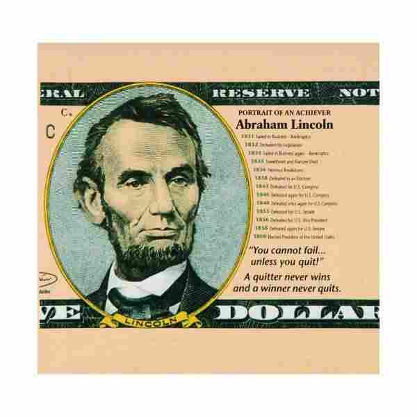 """Steve Kaufman (1960-2010) """"Abraham Lincoln, Portrait of"""
