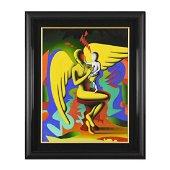 """Mark Kostabi, """"The New Shero"""" Framed Original Oil"""