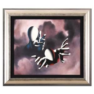 """Mark Kostabi, """"Sending the Son"""" Framed Original Oil"""
