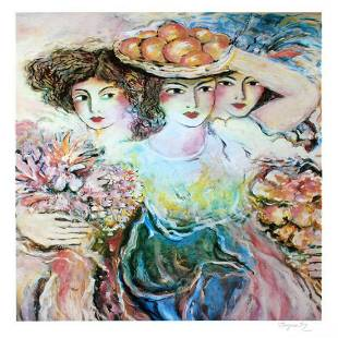 """Three Women"" Limited Edition Lithograph by Zamy"