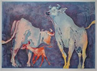 "Edwin Salomon- Original Serigraph ""bull family"""