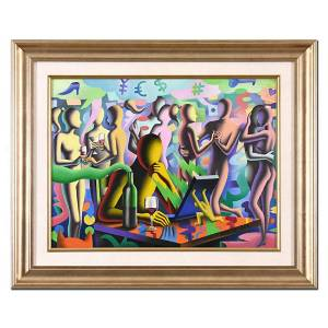 """Mark Kostabi, """"Alone Together"""" Framed Original Oil"""