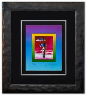 "Peter Max- Original Lithograph ""Sage with Umbrella and"
