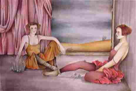 "Haya Ran- Original Serigraph ""Behind the Curtain"""
