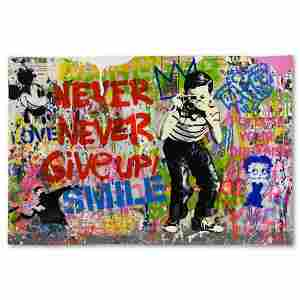 """Mr. Brainwash, """"Smile"""" One-of-a-Kind Mixed Media (24"""" x"""