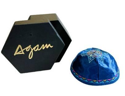 """YAACOV AGAM ORIGINAL JUDAICA ART ON SILK KIPPA """"AGAM"""