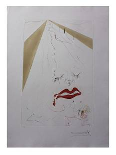 Salvador Dali- Original Etching with color Added