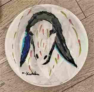 "Menashe Kadishman- Ceramic plate ""Untitled"""