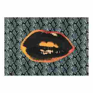 "Steve Kaufman (1960-2010) ""Lips"" Hand Painted Limited"