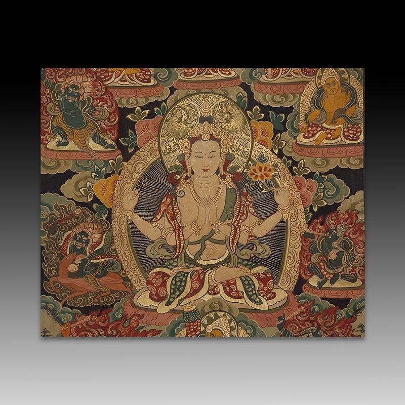 Chinese Qing Dynasty painting Buddhist Thangka - 2