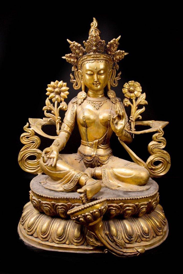 Rare Ming Imperial Gilt-Bronze Figure of Green Tara