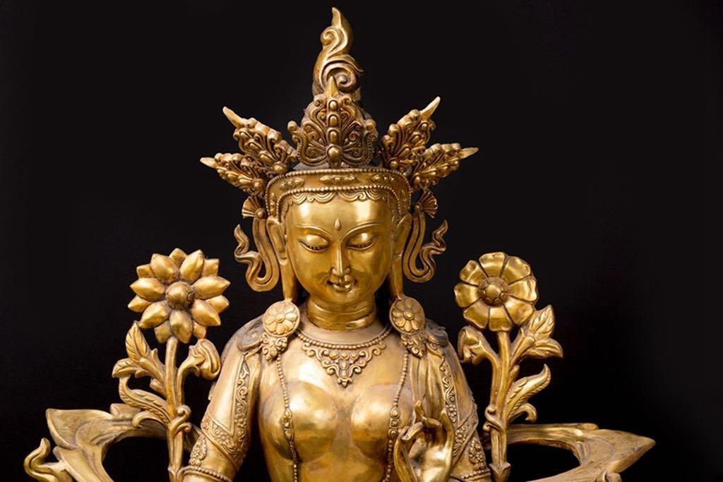 Rare Ming Imperial Gilt-Bronze Figure of Green Tara - 2